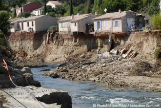 Inondations du Var - érosion des berges de la Nartuby